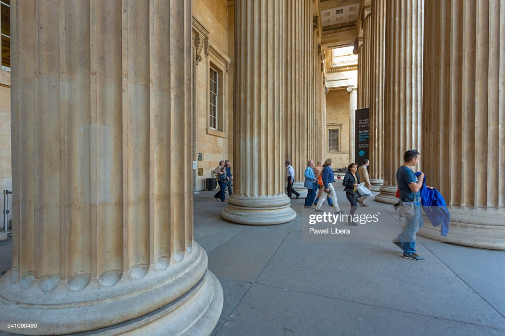 neoclassical columns at the front of the british museum london stock