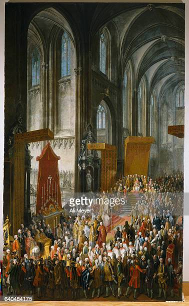 Neoclassical Painting of Royal Event in European Cathedral