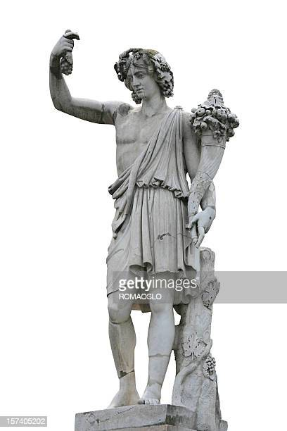 neo-classical sculpture of a young man with cornucopia - statue stock pictures, royalty-free photos & images