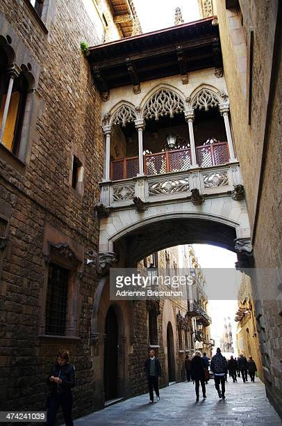 CONTENT] Neogothic style bridge in the Barri Gotic section of Barcelona Spain Designed by architect Joan Rubio the bridge is located over the Carrer...