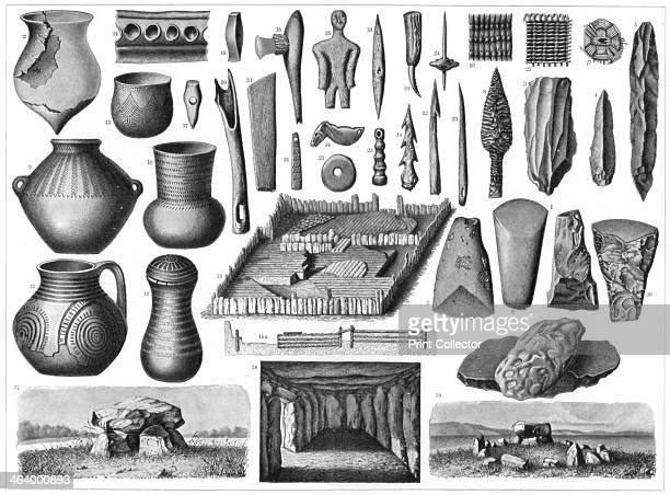 Neolithic antiquities 1901 The bottom three images are of Dolmen in southern Sweden interior of a giant's chamber near Roskilde a stone circle of the...