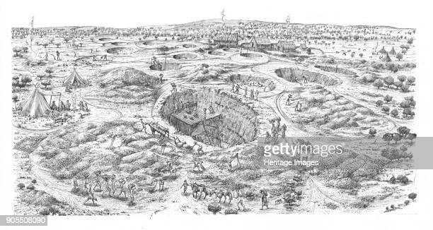 Neolithic flint mine Easton Down Wiltshire Reconstruction drawing depicting a bird's eye view of the mining site Flint and chalk rubble are being...