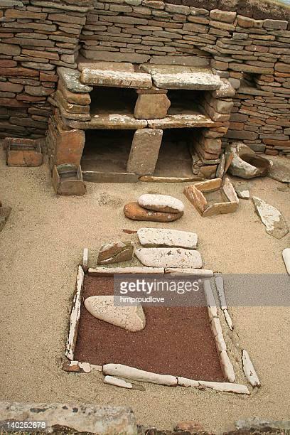 neolithic interior - skara brae stock photos and pictures