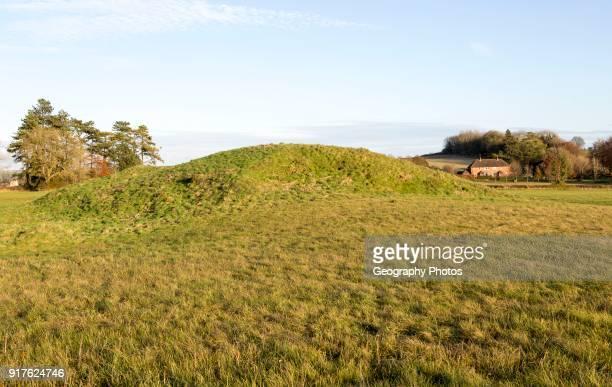 Neolithic long barrow in chalk countryside Beckhampton near Avebury Wiltshire England UK