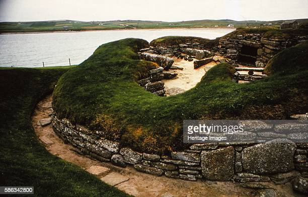 Neolithic Village of Skara Brae Orkney Scotland 20th century Stonebuilt Neolithic settlement on the Bay of Skaill consisting of eight clustered...