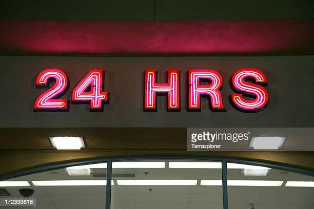 Neon 24 Hours Sign