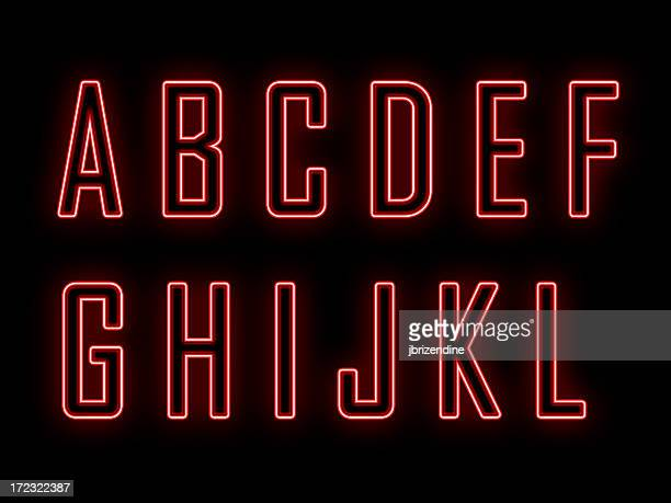 neon a-l - neon letters stock photos and pictures