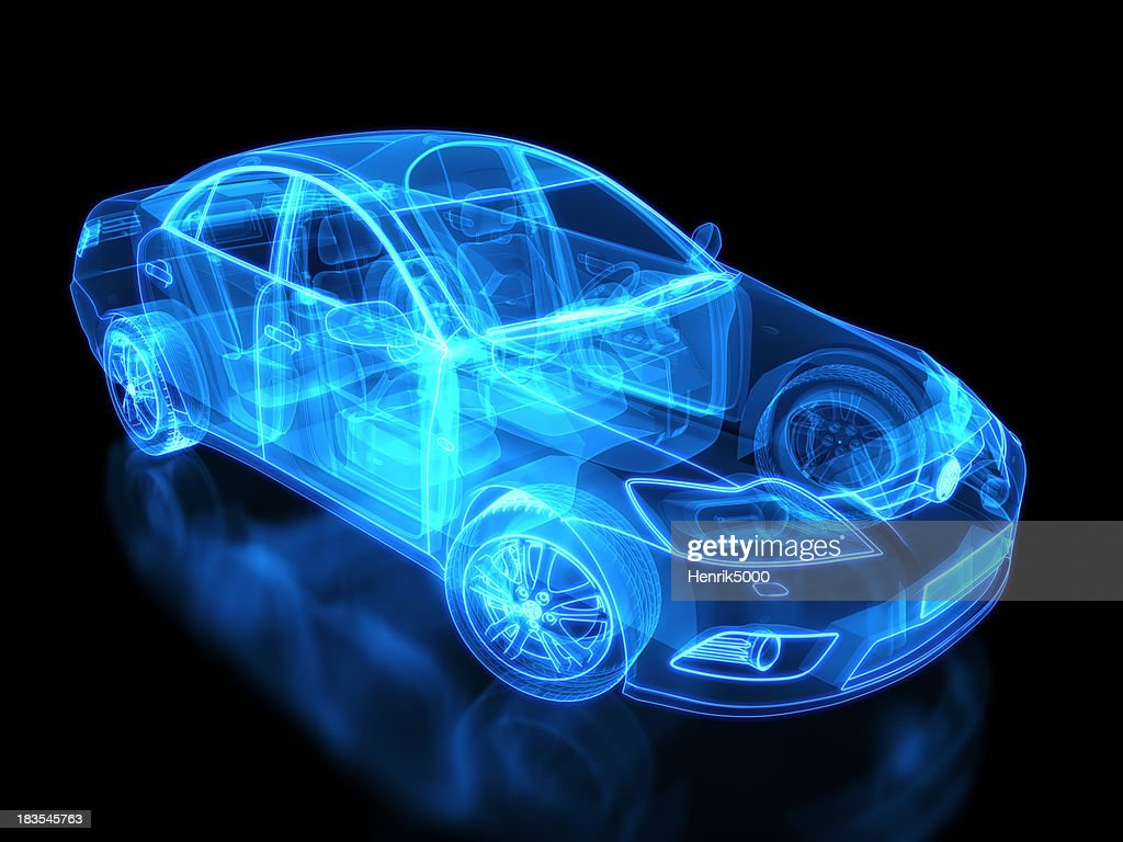 Neon anatomy of an automobile on black background : Stock Photo