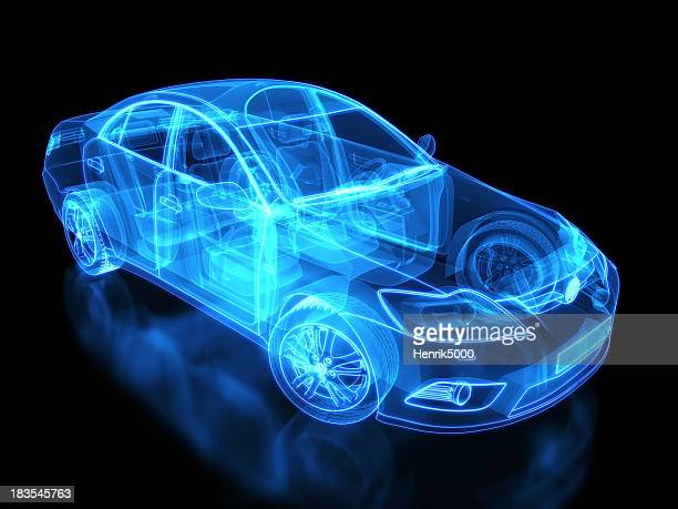 neon anatomy of an automobile on black background - hybrid car stock photos and pictures