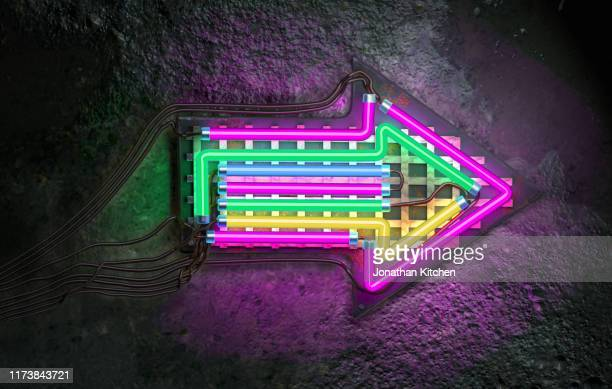 a neon arrow pointing right on a wall - neon colored stock pictures, royalty-free photos & images