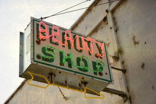 neon beauty shop sign