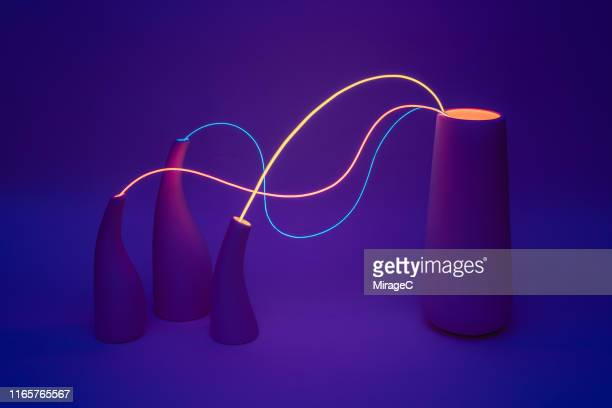 neon cable linking vases - kontakt knüpfen stock-fotos und bilder