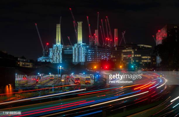 neon city - battersea park stock pictures, royalty-free photos & images