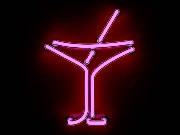 Neon cocktail city sign signboard. 3D rendering