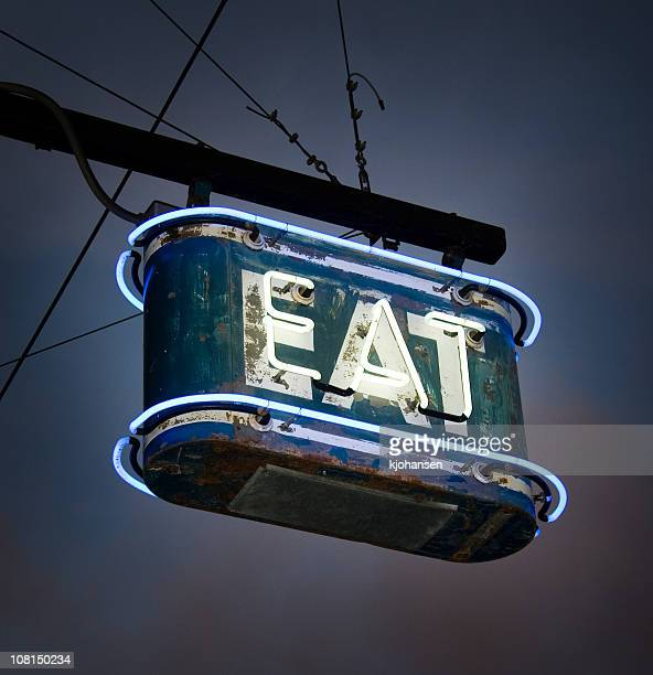 neon eat sign - vintage restaurant stock pictures, royalty-free photos & images