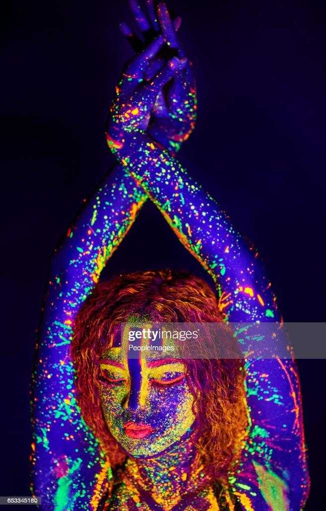 Neon Göttin : Stock-Foto