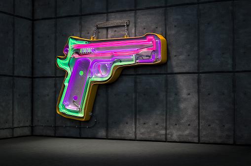 neon gun sign - gettyimageskorea