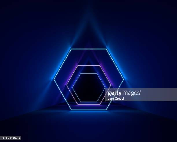 neon hexagons - neon stock pictures, royalty-free photos & images