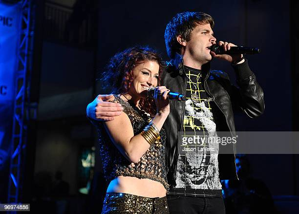 Neon Hitch performs with 3OH3 at the Alice In Wonderland Great Big Ultimate Fan Event at Hollywood Highland Courtyard on February 19 2010 in...