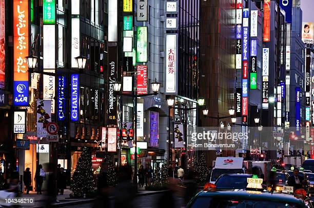 neon in ginza - ginza stock pictures, royalty-free photos & images