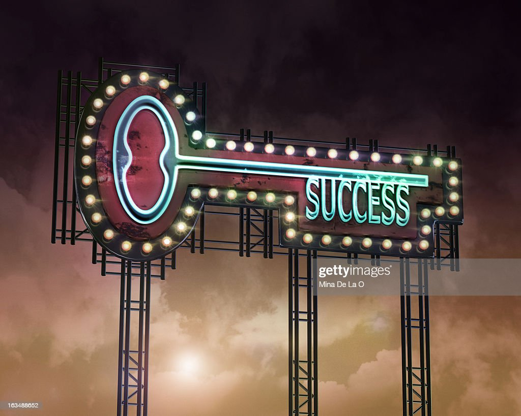neon key Succcess : Stock Photo