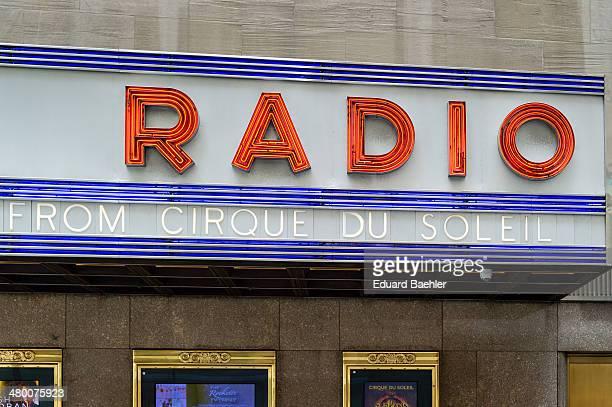 Neon letters of Radio City Music Hall of Manhattan