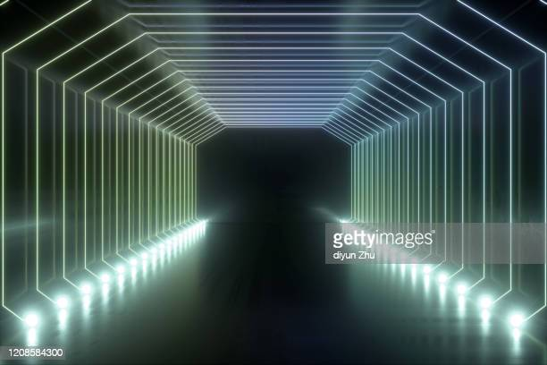 neon light and background,3d render - tunnel stock pictures, royalty-free photos & images