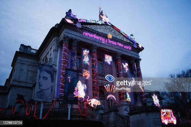 Neon light installation 'Remembering A Brave New World', by British artist Chila Kumari Singh Burman, covers the facade of the Tate Britain art...