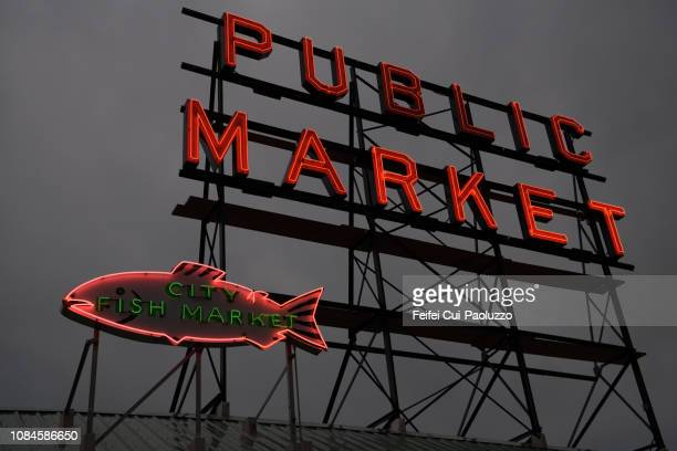 Neon light of Pike Place Fish Market, Seattle, USA