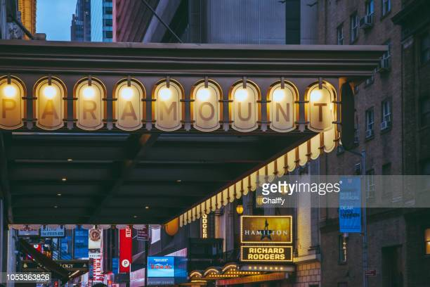 neon lights at broadway - broadway stock pictures, royalty-free photos & images