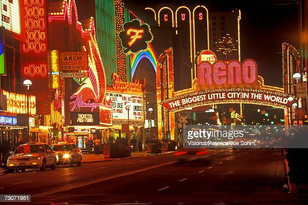 """Neon lights at night in Reno, NV"""