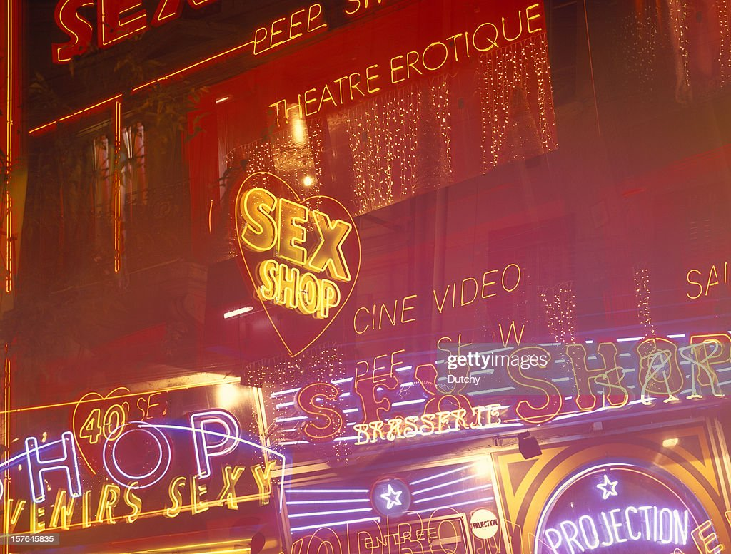 Neon lights at the red light district of Paris, France. : Stock Photo
