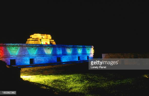Neon lights illuminate the ancient site of Uxmal.