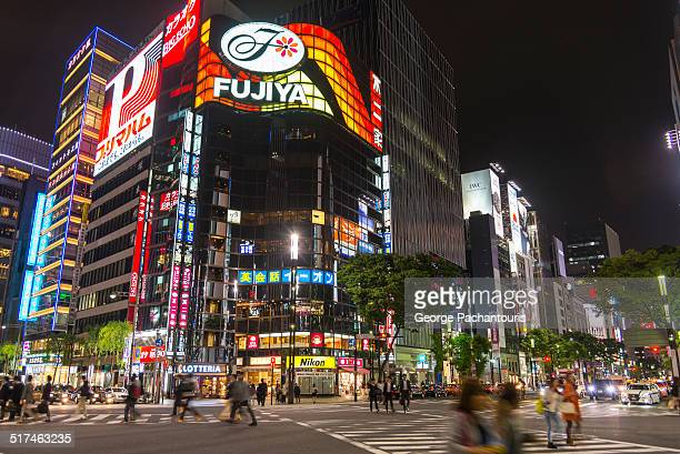 Neon lights in Ginza district, Tokyo