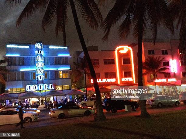 Neon Lights in The Art Deco District Along South Beach Miami FLA 02/14/14