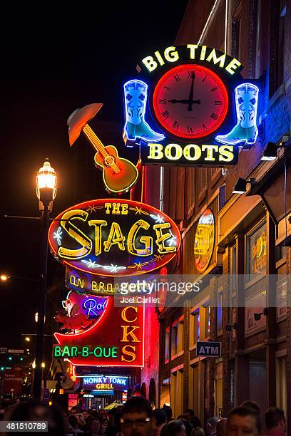Neon lights on Broadway at night in Nashville, Tennessee