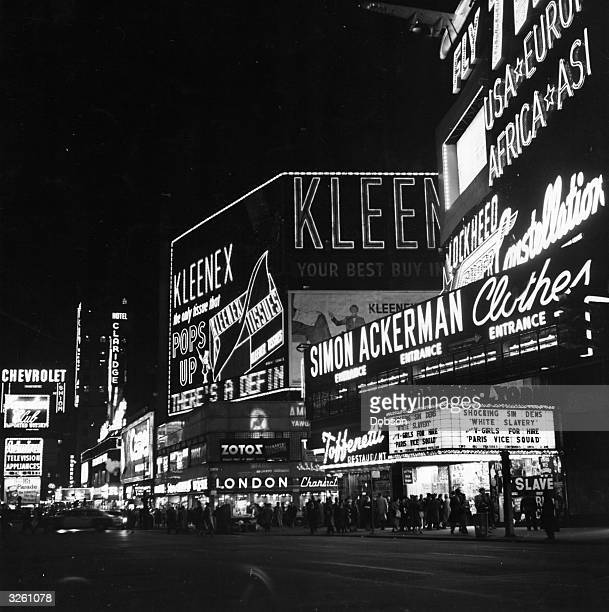 Neon lights on Broadway at night in New York