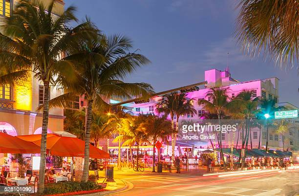 Neon lights on buildings in Ocean Drive, Miami Beach, Florida, USA