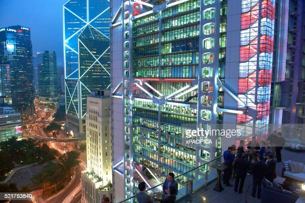 Neon lit financial district in Hong Kong