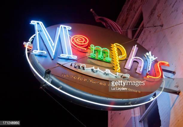Neon Memphis sign outside a Beale Street Shop