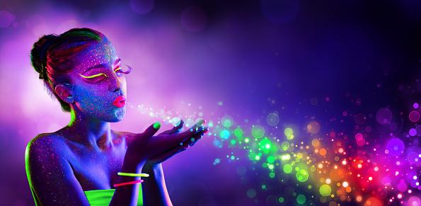 Neon Model Blowing Spectrum Lights 539086446