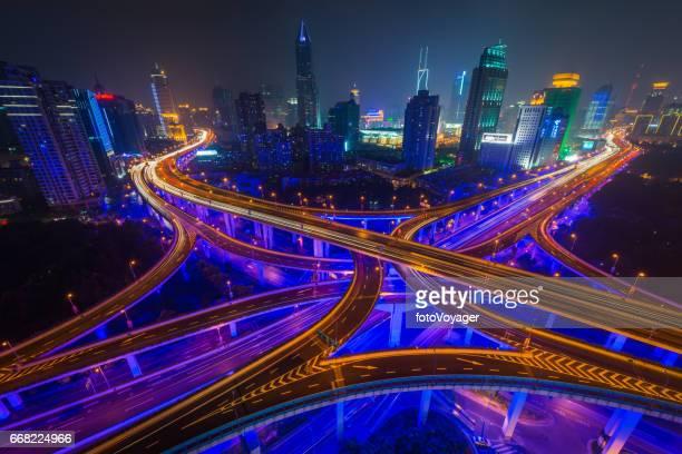 Neon night cityscape futuristic highrise highways skyscraper skyline Shanghai China