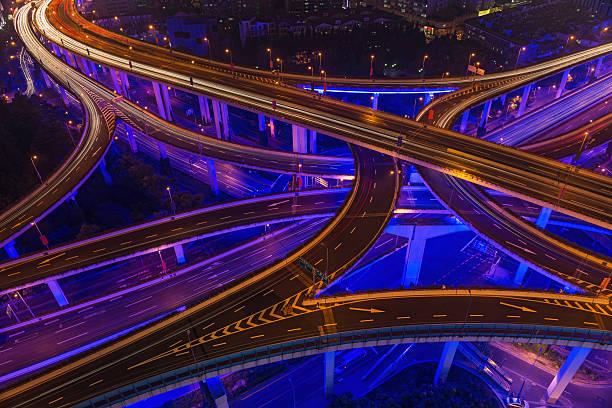 Neon night super highway illuminated Shanghai China