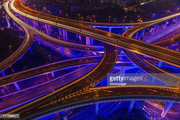 Neon night super highway illuminated Shanghai China