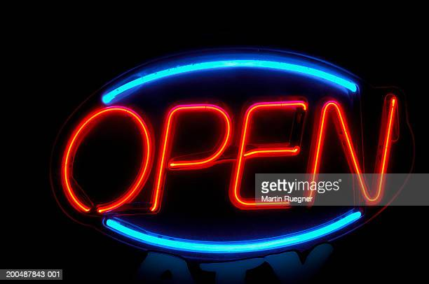 Neon 'open' sign, close-up