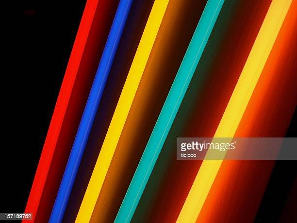 neon rainbow lights - fluorescent light stock pictures, royalty-free photos & images