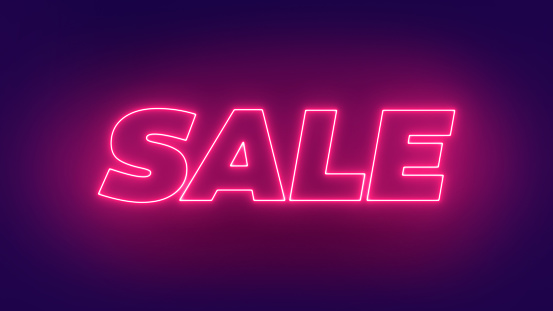 Neon Sale Glowing Text Sign. Sale Banner Design. 3D Render Glow Sale Illustration.Sale offer glowing text design. 854550186