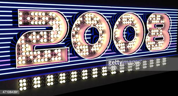 neon sign 2008 party - 2008 stock pictures, royalty-free photos & images
