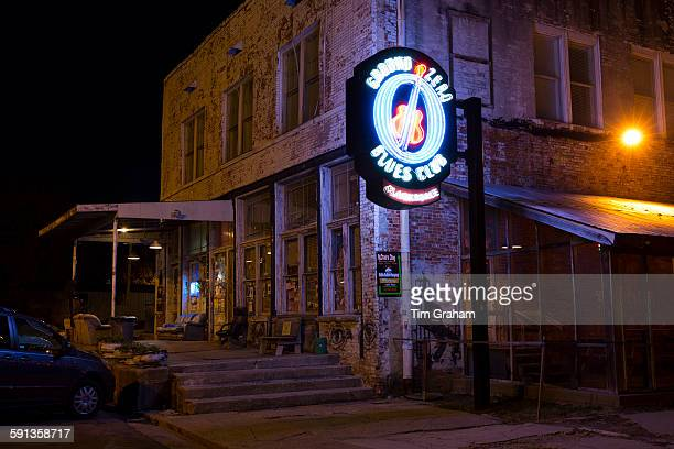 Neon sign at Morgan Freeman's Ground Zero Blues Club in Delta Street in Clarksdale birthplace of the Blues Mississippi USA