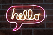 Neon sign background saying